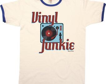 Vinyl Junkie Mens RINGER T-Shirt Retro Record LP Fashion New