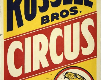 Russell Bros Circus Vintage Circus-advertising - wall decor poster print design