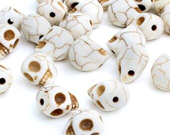 White Howlite Skull Beads • 14x18mm • 2pcs • BD_025_WT