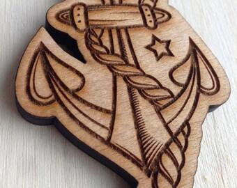 Anchor Wooden Keyring, laser cut keyring, nautical keyring, tattoo collection, laser cut wood, handmade keyring, wood craft keyring