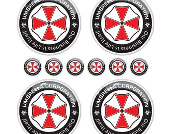 Resident Evil Umbrella Corporation rims fob keys 3d domed stickers