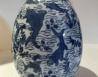 """Vintage Chinese Blue and White Porcelain Egg - 7"""" Tall"""