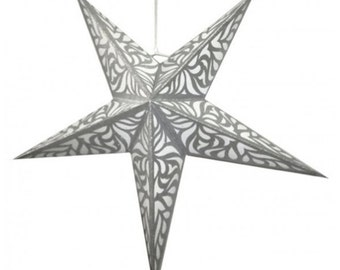 Silver Star Paper Lantern- Handmade from Tree Free Paper