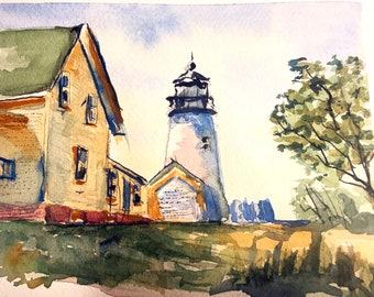 Lighthouse (Original Watercolor Painting)