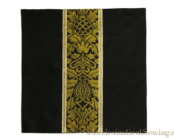 Chalice Veil, Black Silk Dupioni and Gold Fairford