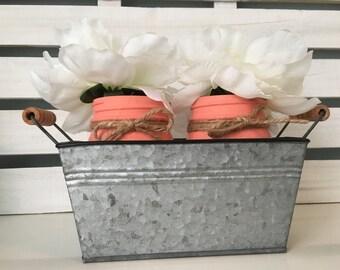 Hand-painted and Distressed Mason Jar Arrangement in Galvanized Bin