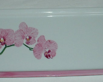 Plate or dish with decor orchids - porcelain-gift artisanal-céline creation