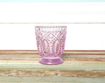 Small Pink Glass Candle Holder Votive Blush Glass-Tea Light Cut Glass Cup Textured Glass-Centerpiece-Baby Baby Girl Shower-Shabby Chic