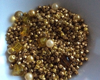Gold mix of glass beads.