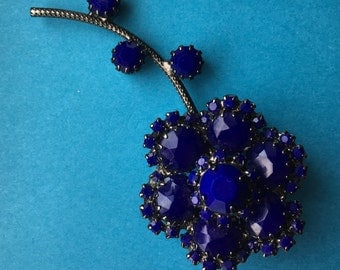 Cobalt Blue Flower Brooch