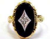 10K Onyx & Diamond Vintag...