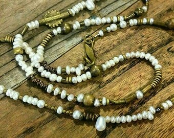 Lulu White and Dark,  exotic  freshwater pearls mixed with brass beads and brass findings