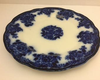 "Antique Waldorf Flow Blue 10"" Dinner Plate~New Wharf Pottery~Vintage 1894 Staffordshire Pottery England"