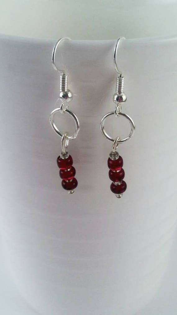 Minimalist earrings, red dangle earrings, small earrings, small jewelry, red jewelry collection, birthday gift, red theme gift, red theme