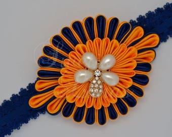 Kanzashi hair Ribbon, satin flower, headband, baby, kanzashi, fabric flower, rhinestone, Pearl