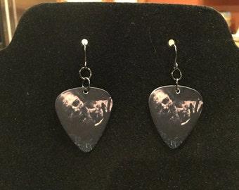 The Walking Dead Zombie guitar pick earrings (customizable)