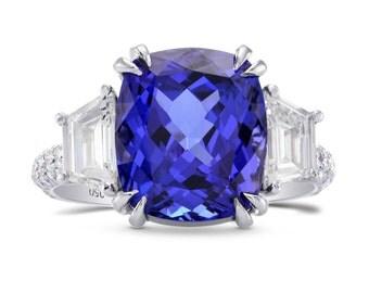 Tanzanite Cushion & Trapezoid Diamond Ring,sku: 229186