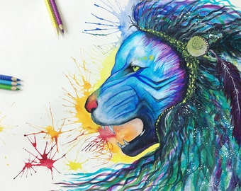 Blue Lion / - original watercolor painting (Rainbow animal)