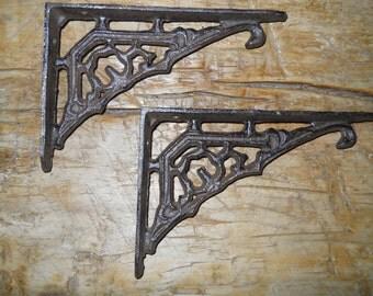 6 Cast Iron Antique Style Art Deco Brackets, Garden Braces Shelf Bracket