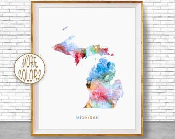 Michigan Print Michigan Art Print Michigan Decor Michigan Map Art Map Artwork Map Print Map Poster Watercolor Map Office Art ArtPrintZone