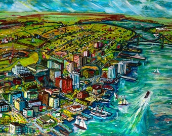 Art Print, Into the Harbour Print, Halifax Harbour, Fine Folk Art, Halifax Cityscape, Halifax Buildings, Limited Edition Prints