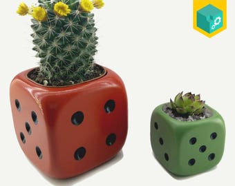Planter | Hand painted | Succulent planter | Set of 2 planters | 3D printed | 3.14x3.14x3.14 inch & 1.9x1.9x1.9 inch