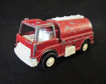 "Vintage Original 1970's Toy Metal/Plastic Tootsie Toy Red Bio Equipment Truck 3-7/8"" long."