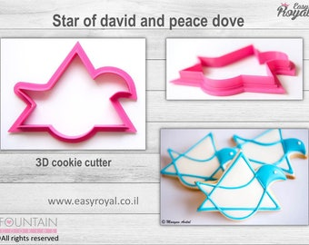 Star of davide and peace dove - 3D cookie cutter