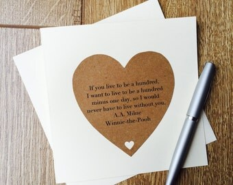 Handmade Heart Winnie the Pooh Quote Valentines or Anniversary Card