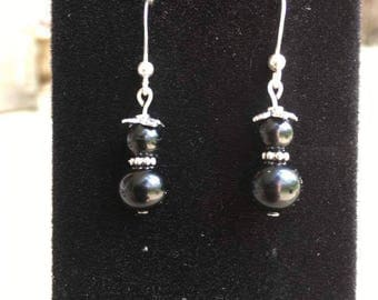 Vintage Onyx and Sterling Silver Earrings