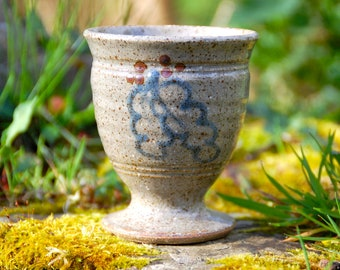 Stoneware Chalice / Goblet with Oakleaf - Pagan - Wicca - Ritual - Witchcraft - Solstice