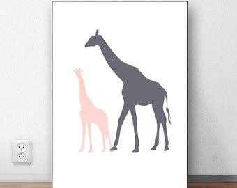 Giraffe Printable Giraffe Nursery Decor Giraffe Wall Art Animal Nursery Art Giraffe Baby Shower Gift Baby Girl Nursery Wall Decor Animal