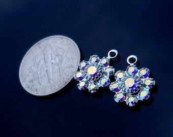 Sterling Silver, Charm, Earring Charm, Necklace Charm, Flower Crystal, Crystal Swarovski