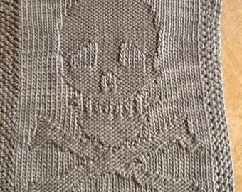 Knit  Skull & Crossbones dishcloth/washcloth
