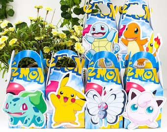 Pokemon favor box, Pokemon candy box, Pokemon treat box, Pokemon Goody box, Pokemon Favor bag, Pokemon party favor box