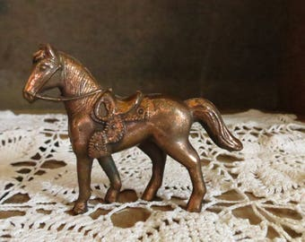 Copper Horse With Saddle Figurine
