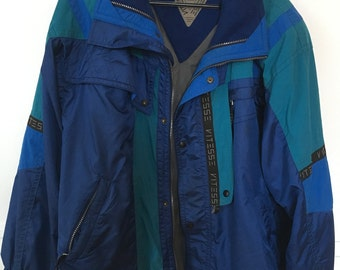 Vitesse by Couloir Winter Jacket Vintage 1990s style // Blue, Cyan, Grey, Black // Size S/M