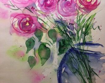 """Watercolor """"Bouquet of roses"""" flowers, 30 x 40 cm, unique"""
