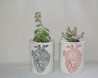 Small ceramic heart planter