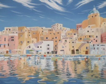 Procida Marina Coricella Italy Original Oil Painting on Stretched Canvas