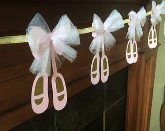Ballet baby shower banner, ballerina baby shower banner, ballet slipper garland,  baby shower decoration, its a girl baby shower decor, tull