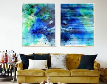 Abstract art print Blue Abstract Navy Blue Abstract watercolor print Abstract painting Abstract room decor Abstract home decor Abstract art