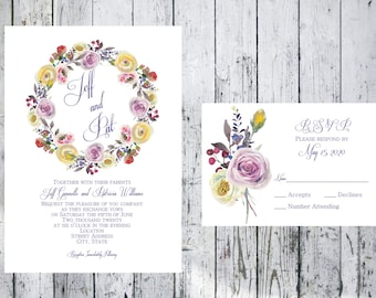 Floral Wreath Wedding Invitation and Respond Card