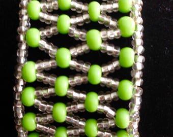 "Green ""Lace"" Beaded Bracelet, Green Bracelet, Beaded Bracelet, Unique Bracelet"