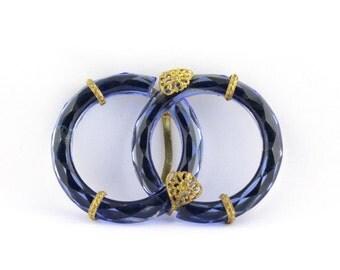 Vintage Blue Czech Glass Interlocking Circles Sash Belt Buckle