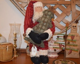 Farmhouse, rustic, primitive, country, cottage chic chenille Santa with chenille and rusty bell Christmas tree