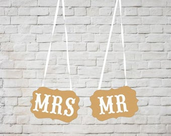 "Rustic Kraft ""MR & MRS"" Wedding Banner. Wedding announcement banner. Party Banner."