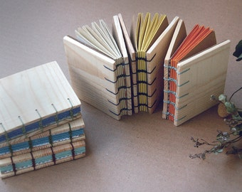 Mini recycled wooden notebook, Ecological paper, Made with boxes of fruit, Coptic Binding, Mini notebook, Mini wooden notebook