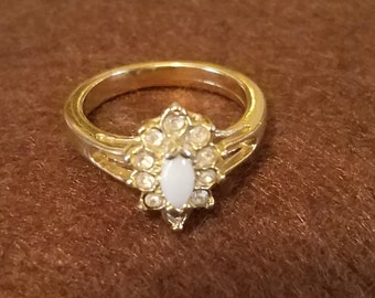 Vintage Avon Faux Opal Rhinestone Cluster Gold Tone Ring