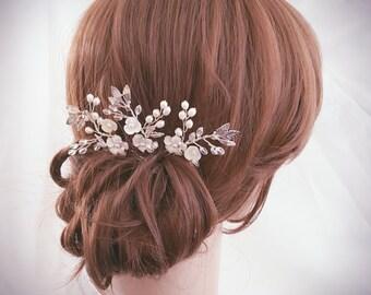 Bridal Hair Pin, Wedding Hair Comb, Bridal Comb Set, Silver Hair Accessories, Gold Hair Jewelry, Set of 3